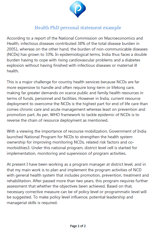 Health PhD personal statement example - preview