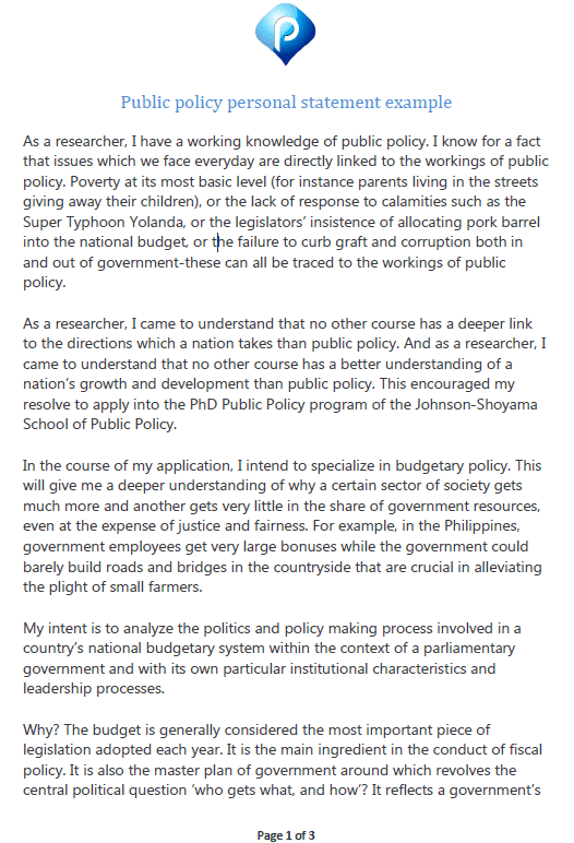Public policy personal statement example - preview