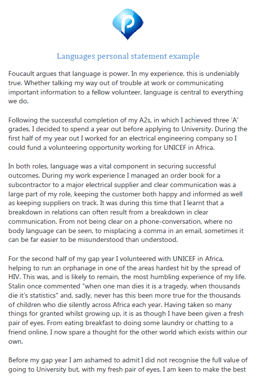 Languages personal statement example - preview