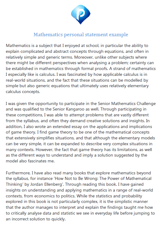 Mathematics personal statement example preview